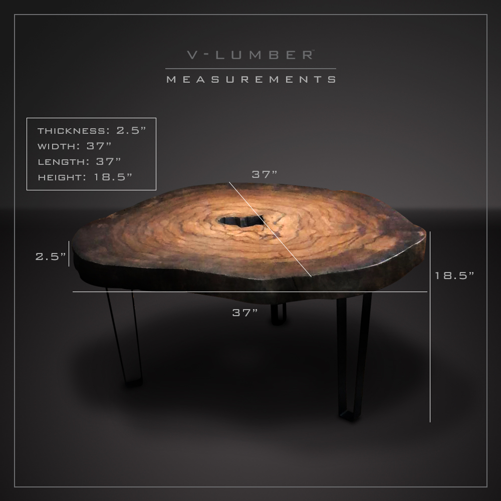 COFFEE TABLE - DRAGON WOOD - ROUND - BLACK METAL LEGS