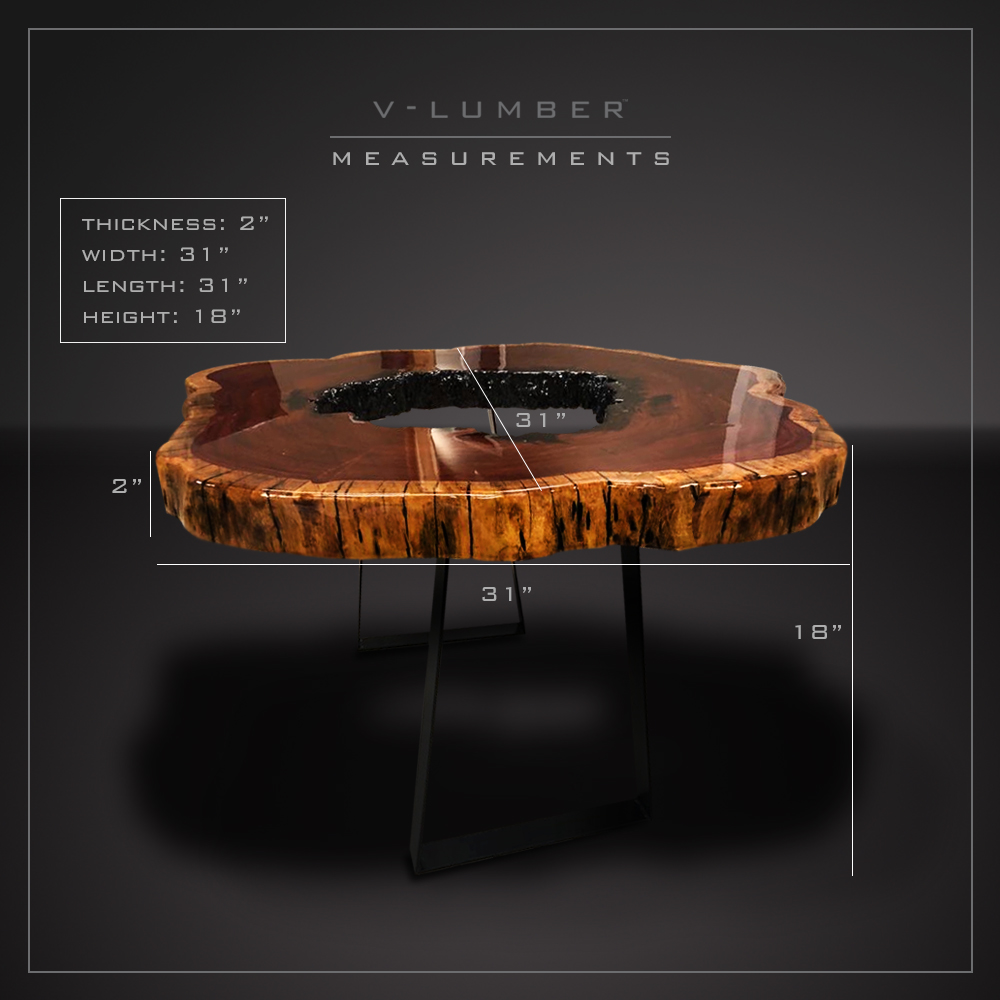 COFFEE TABLE - KIRA - CENTER HOLE - METAL LEGS